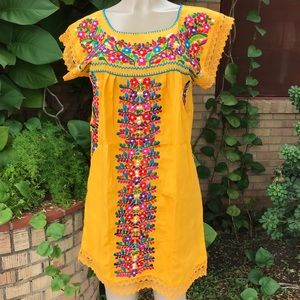 Mexican Yellow Dress Floral Embroidered Crocheted